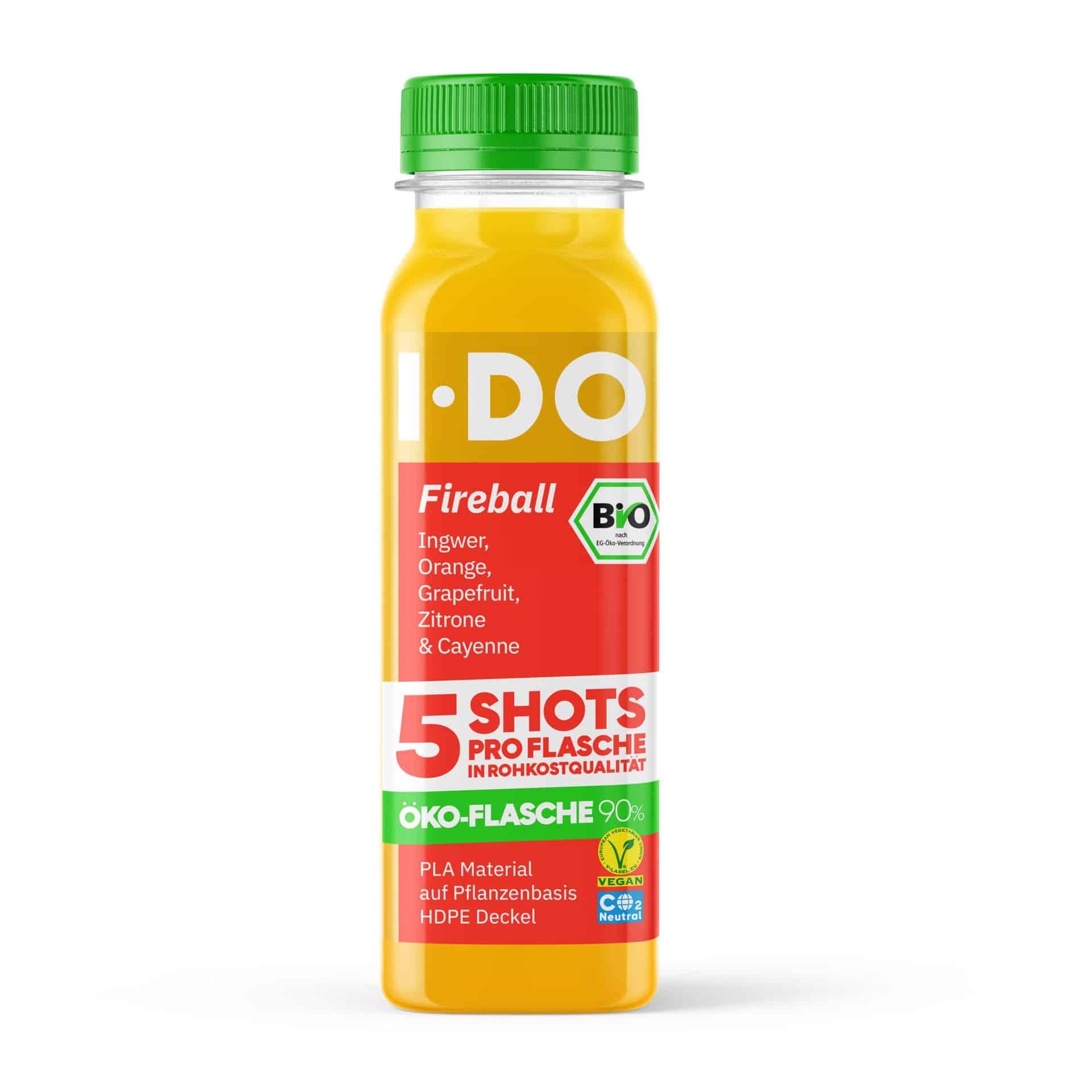 I·DO Bio Saft Fireball, 5 Ingwer Shots pro Flasche von vorne