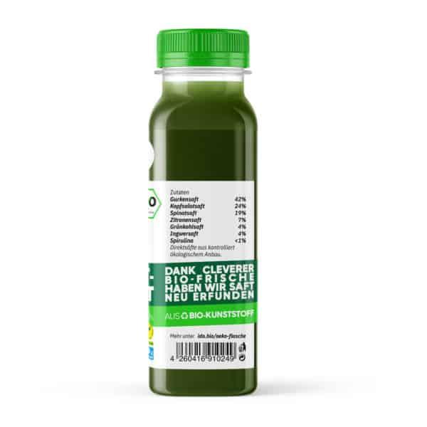 Greens Come True, Gemüsesaft pro Flasche von der Seite