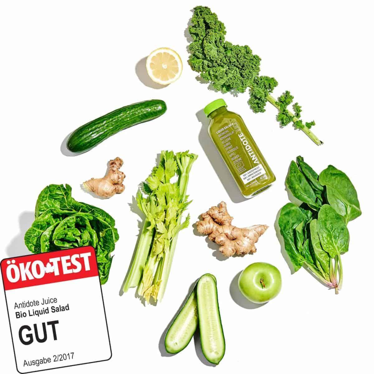 Der Antidote Bio Saft Liquid Salad hat im Ökotest die Note gut erhalten (02/2017).