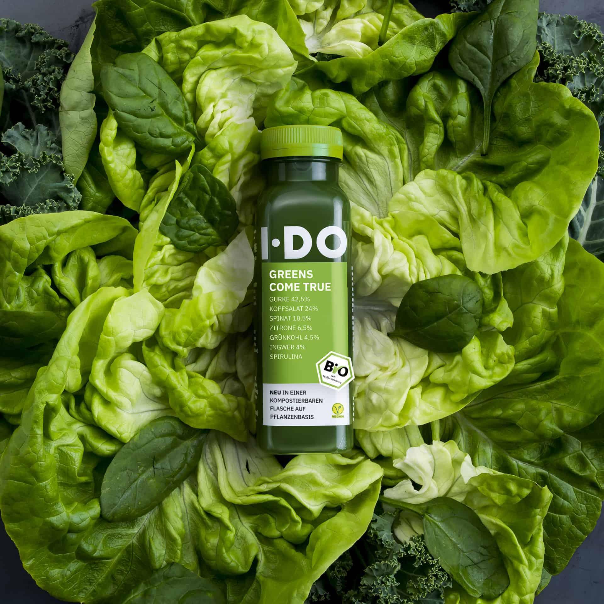IDO Greens Come True Biosaft in einer kompostierbaren PLA Flasche