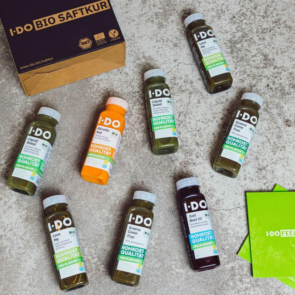 I·DO Super Green Bio Saft Detox Kur, 2 bis 12 Tage Saftfasten mit 8 frischen vorwiegend grünen Säften pro Tag