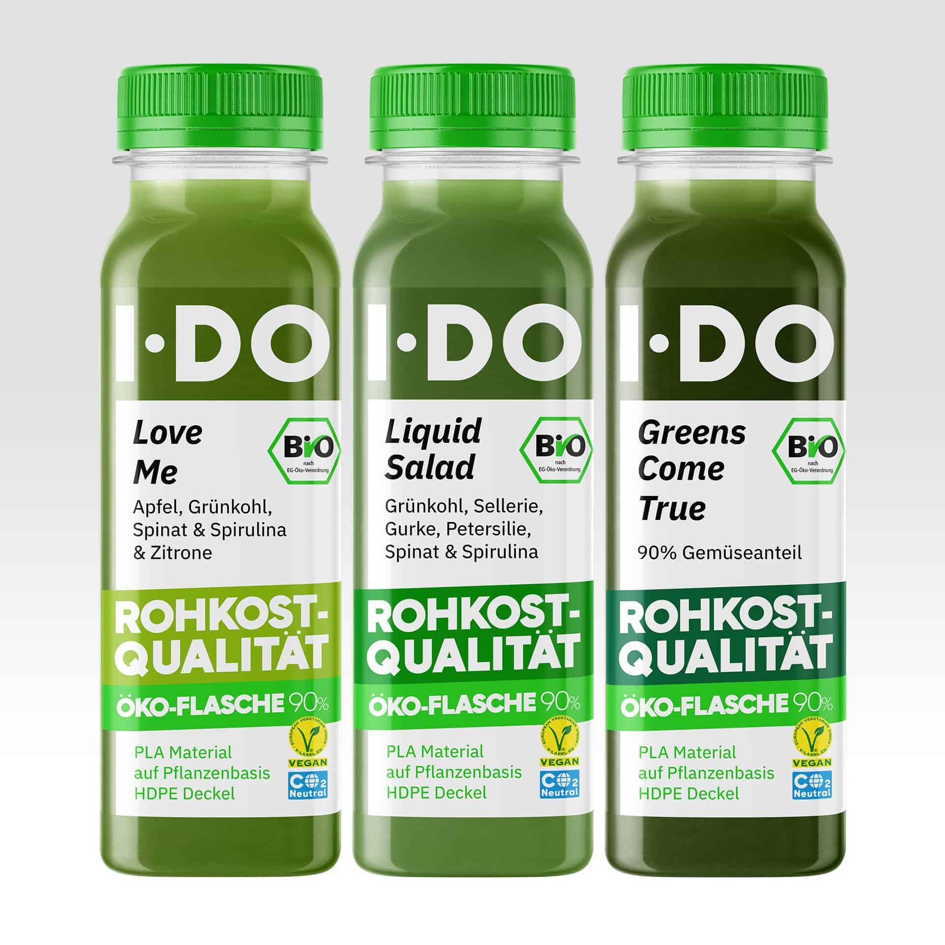 The I·DO Green Team, drei grüne Säfte im Vorratspaket