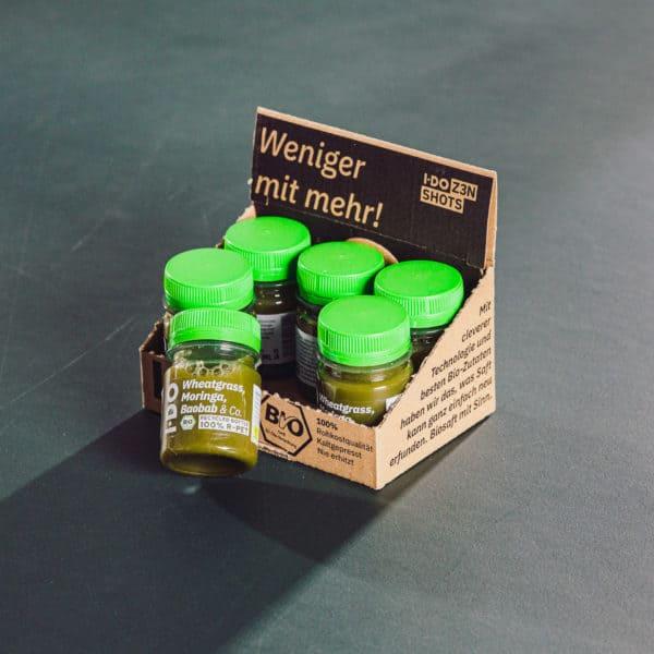 I·DO Ingwer Shots 6er Pack mit Weizengrassaft, Moringa, Baobab & Co.