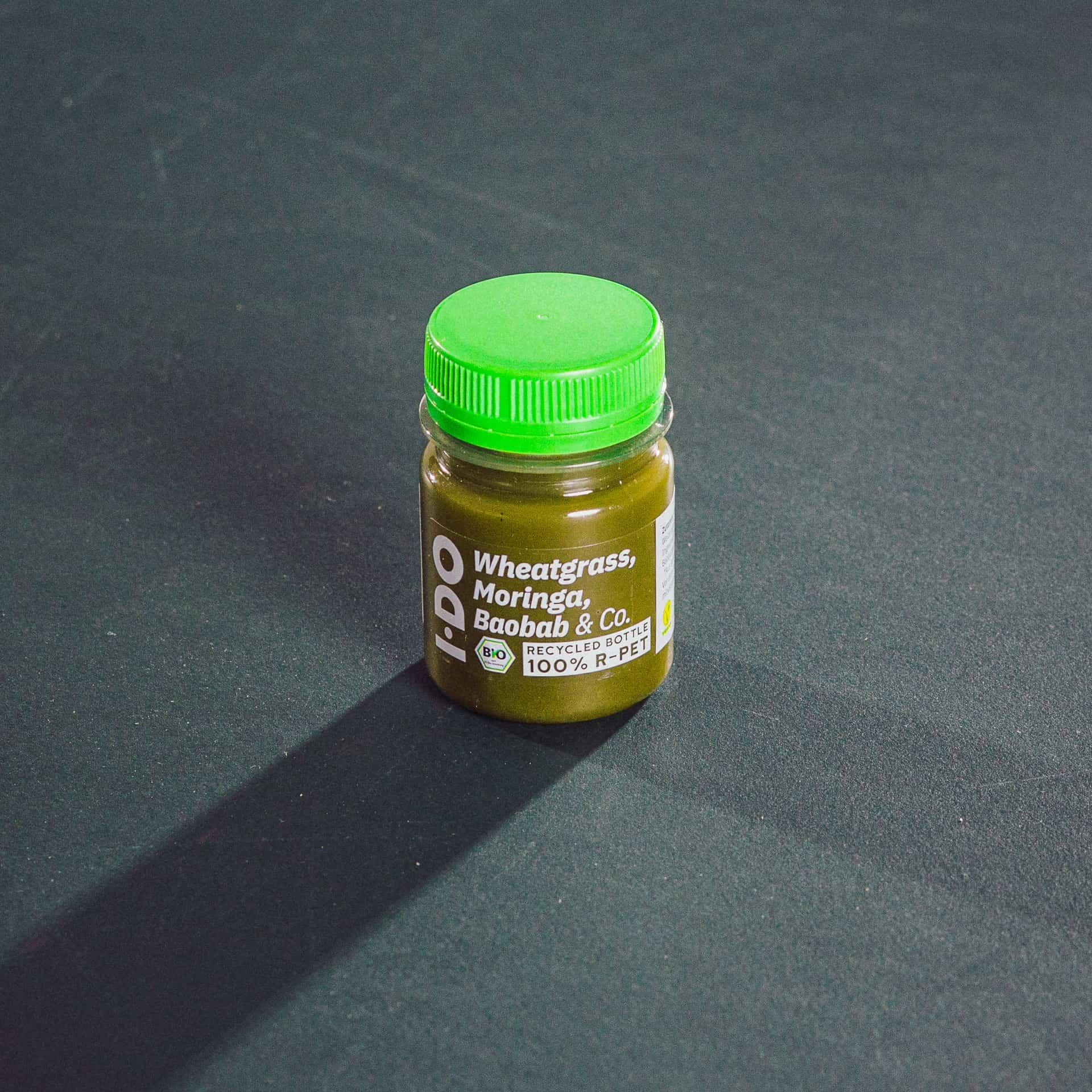 I·DO Ingwer Shot mit Weizengrassaft, Moringa, Baobab & Co.