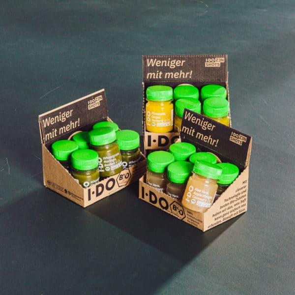 I·DO Ingwer Shots, 3 Sorten in geöffneten Boxen