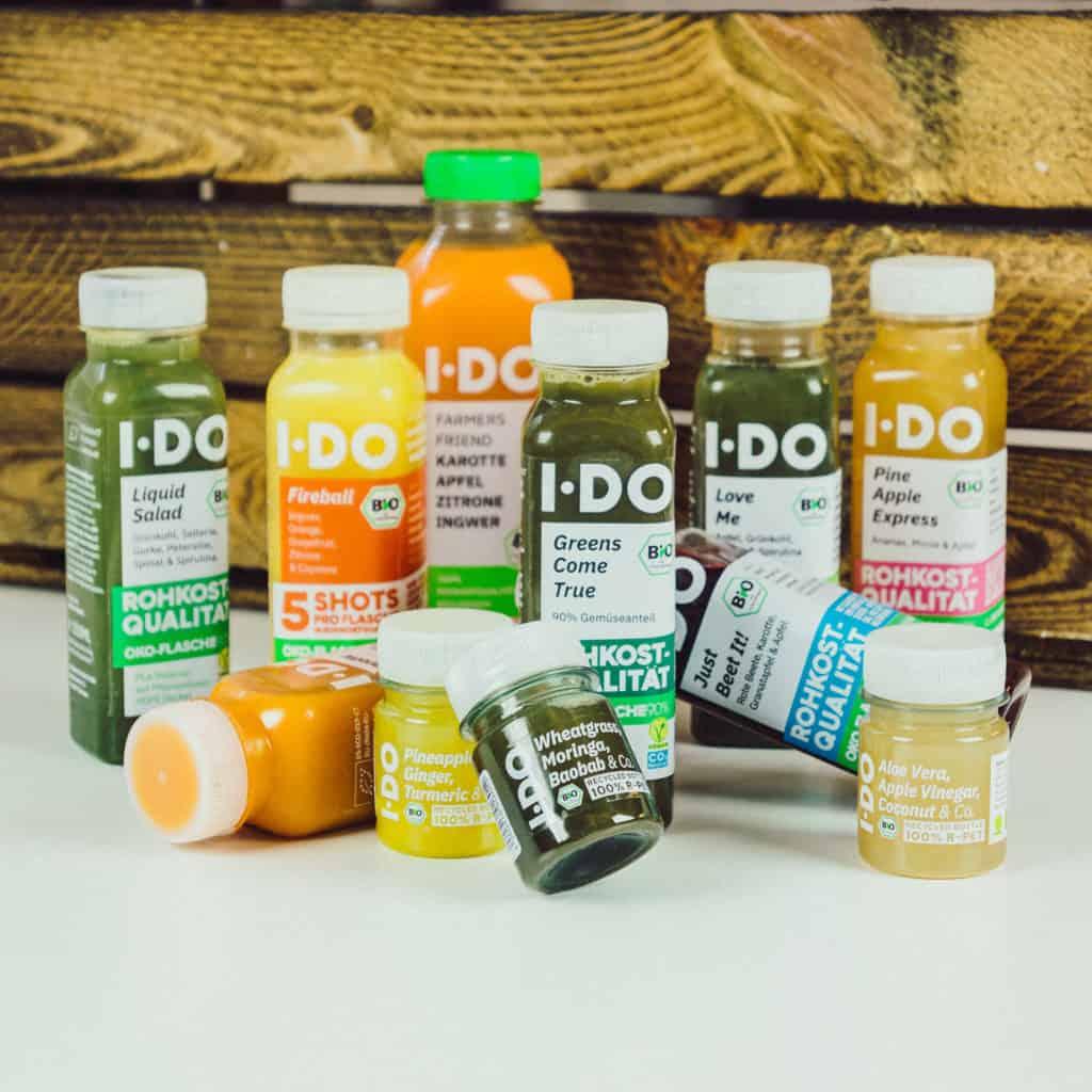 11 I·DO Bio Säfte, die im Probierpaket enthalten sind